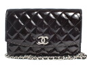 CHANEL CHANEL matelasse line enamel shoulder bag black & silver A48692