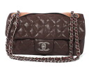 Chanel CHANEL antique quilted calfskin shoulder bag dark brown A49680