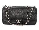 Chanel CHANEL cruise line symbol charm icon chain calf leather shoulder bag black & silver A49748