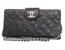 Chanel CHANEL cruise line symbol charm icon chain calf leather shoulder bag black & silver A49749