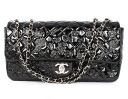 Chanel CHANEL cruise line symbol charm icon chains enamel shoulder bag black & silver A49756