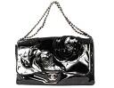 Chanel CHANEL cruise line Camellia motif enameled shoulder bag black A50005