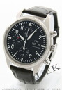 IWC pilot's watch automatic chronograph crocodile leather black mens IW371701