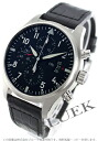 IWC pilot's watch automatic chronograph with crocodile leather black mens IW377701