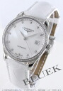 Jin Ron master collection diamond automatic alligator leather white shell men L2.518.0.87.3