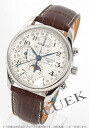 Xmas sale ★ Jin Ron master collection automatic chronograph moon phase alligator leather brown / silver men L2.673.4.78.5