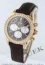 4677.60.37 オメガデビルコーアクシャル diamond bezel RG pure gold black co-leather dark brown & purple Lady's