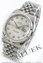 Rolex date just Ref.116234G WG bezel diamond index silver men