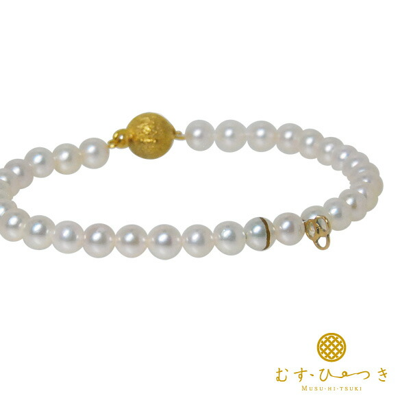 ブレスレット ゴールド レディース アコヤ真珠 あこや蒔絵パール K10