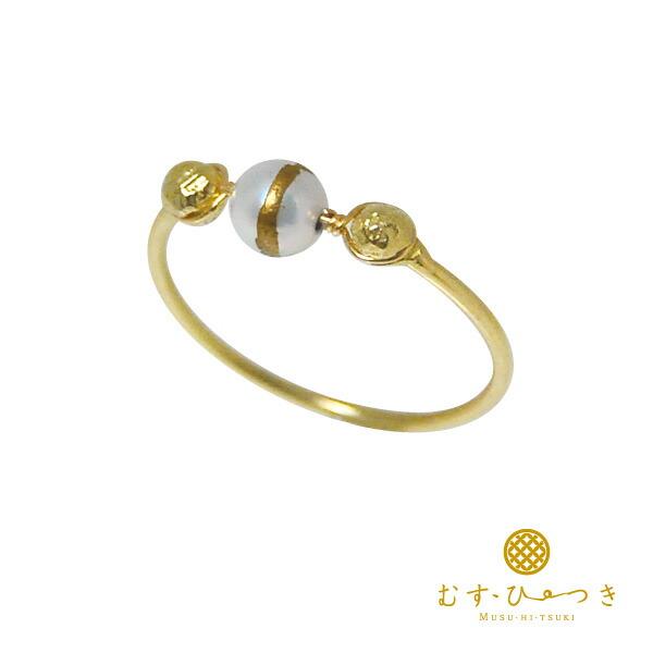 アコヤ真珠 パール リング ゴールド 指輪 K18 あこや蒔絵 パールリング