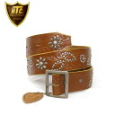 Regular dealer HTC #LEAF FLOWER EMBOSS BELT leaf flower emboss belt light brown leather x silver studs