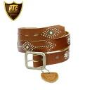 Regular dealer HTC #ARROW TURQUOISE 1.25inch BELT( arrow turquoise belt) light brown leather x silver studs