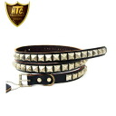 Regular manual HTC (Hollywood Trading Company) #PYRAMID STUDS NARROW BELT (1 pyramid stadsnarrow belt) black leather