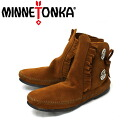 Regular dealer postage, collect on delivery fee free of charge MINNETONKA( Mine Tonka )Two Button Boot Hard Sole( toe button boots hardware sole )#442 BROWN Lady's MT093fs3gm