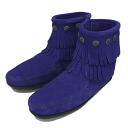Postage, collect on delivery fee free of charge MINNETONKA( Mine Tonka) Double Fringe Side Zip Boot( double fringe side zip boots) #699F BLUE VIOLET Lady's MT357 in regular dealer Japan