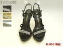 Lame x rhinestone Sandals BORDER ROOF ladies / shoes / Sandals / invited/wedding / rhinestones/glitter