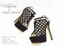 Cross-design high heel Sandals 14.5 cm heel 10P02Aug14 Womens-shoes Sandals / high heels / women's / suede / rhinestone