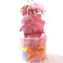 两阶段尿布蛋糕粉色小兔子 !