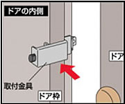 取付金具をドア枠にはめ、ツマミを回してドア枠にしっかり固定し、ドアを閉めるときに取付金具とドアが当たらないか確認します。