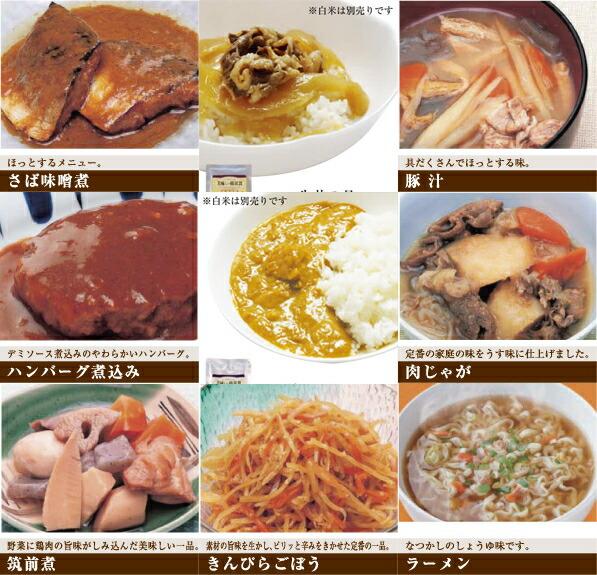 美味しい防災食 おかず9種類セット さば味噌煮,牛丼の具,豚汁,ハンバーグ煮込み,ポークカレー,肉じゃが筑前煮,きんぴらごぼう,ラーメン