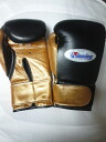 Winning 8-ounce gloves Velcro black x genuine leather gold new design America-ya original color