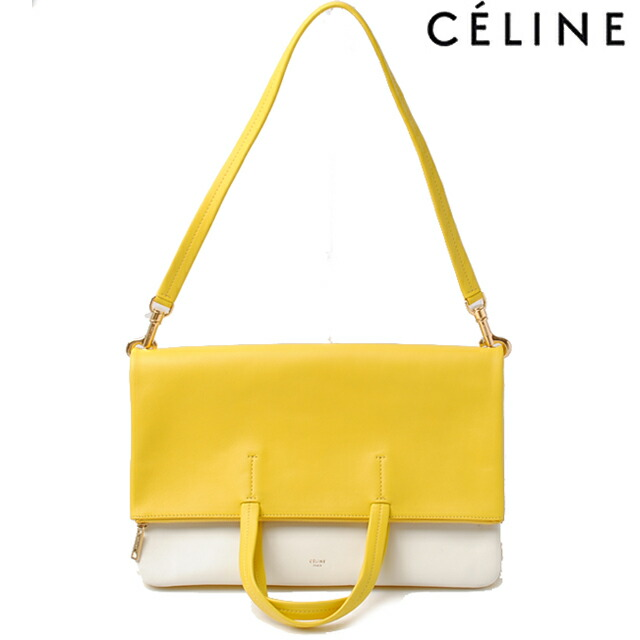 celine yellow leather clutch bag