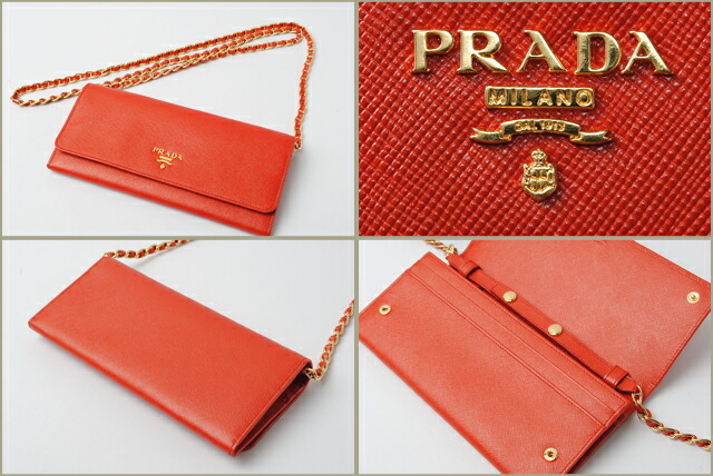 prada saffiano wallet with chain