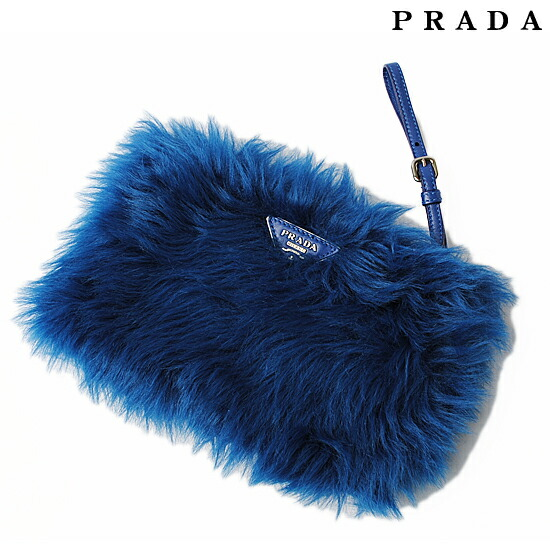 prada blue fur clutch bag