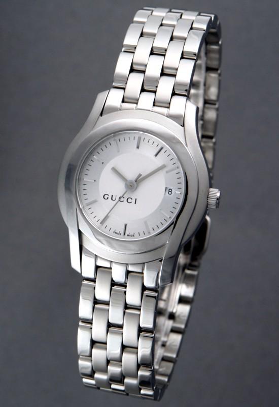 [gucci/古奇]5505l女士手表银子表盘金属ya