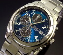 SEIKO/Chronograph mens watch blue / black letter Edition metal belt SND193 overseas models