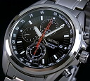 SEIKO/Chronograph men watch black clockface metal belt SNDC93P1 foreign countries model