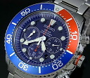 SEIKO/200m diver's watch chronograph men solar watch navy / red bezel metal belt navy clockface SSC019P1 foreign countries model