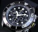 Seiko/200 m diver's watch chronograph men's solar watch black bezel rubber belt black letter Edition SSC021P1 overseas models