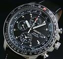 SEIKO/Alarm Chronograph pilot mens solar watch black leather belt black letter Edition SSC009P3 overseas models