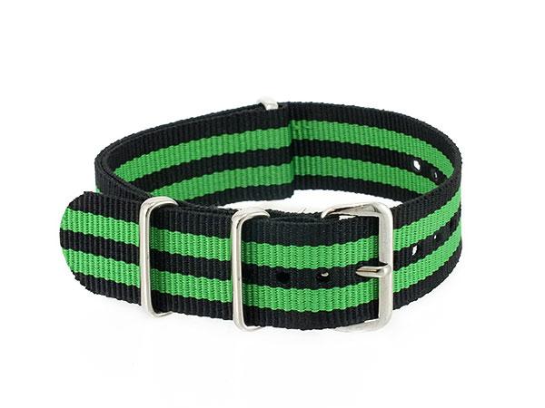 腕時計 WATCH ナイロン 替えベルト 009-BKGR-SS20 (59003) ブラック×グリーン