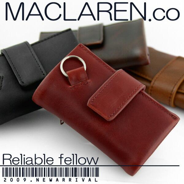 マクラーレン MACLAREN.co 多機能キーケース 牛革製 札入れ 小銭入れ 財布 MC-0604 RD