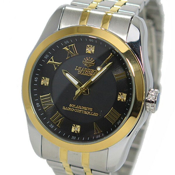 ジョンハリソン ソーラー 電波時計 メンズ 腕時計 JH-096MGB ガンメタ/ゴールド