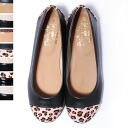 Two-tone flat shoes / enamel / straw material / Leopard print and Pu / different material substitution 10P28oct13