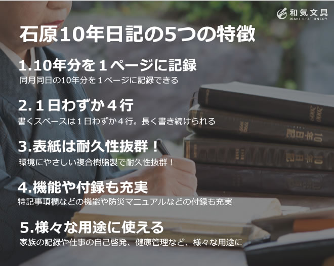 """""""石原10年日記の5つの特徴 width="""