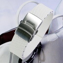 Natural rubber watch strap with Dyployant clasp White