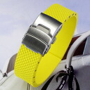 Natural rubber watch strap with Dyployant clasp Yellow