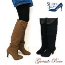 Stretch and fold 2-way! Warm knee high boots ♪ warm fleece fabric to toe! [FOO-AG-6207]