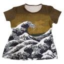 Kacho fugetsu-evening waves largest-pattern ladies print t-shirts series