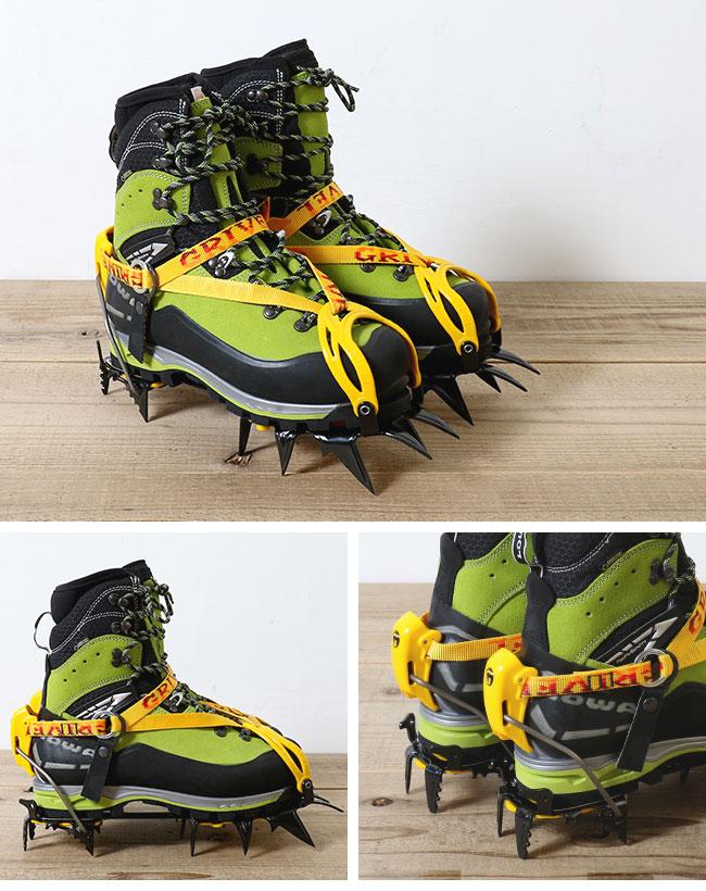 つま先はプラスチックハーネスなので、ダブル仕様ブーツにも対応。 かかとはバインディングシステムを採用しています。