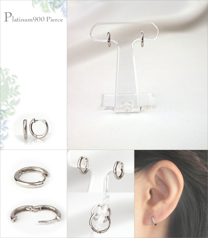 K18 hoop pierced earrings