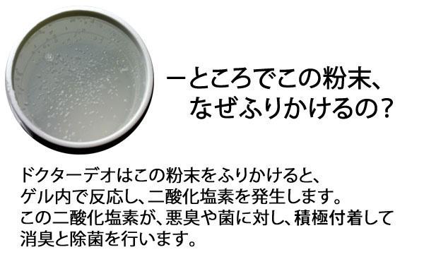 カーメイトのドクターデオは、この粉末をふりかけるとゲル内で反応し、二酸化塩素を発生させます。この二酸化塩素が、悪臭や菌に対し、酸化分解して消臭と除菌を行います。