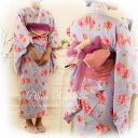 Children dress sold sd Alice teens summer yukata + Obi + belt 3-piece set! (Kids yukata teens yukata ladies adult)