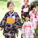 Children dress Alice summer yukata + robe belt 2 pieces! ★ reviews fill in Lily gift ♪ ★ pink kimono black ( kids yukata kids yukata )
