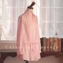 With ladies waist Ribbon tunic blouse croissants pink beige Navy Blue Ladies adult formal chambre de croissant brand magazine