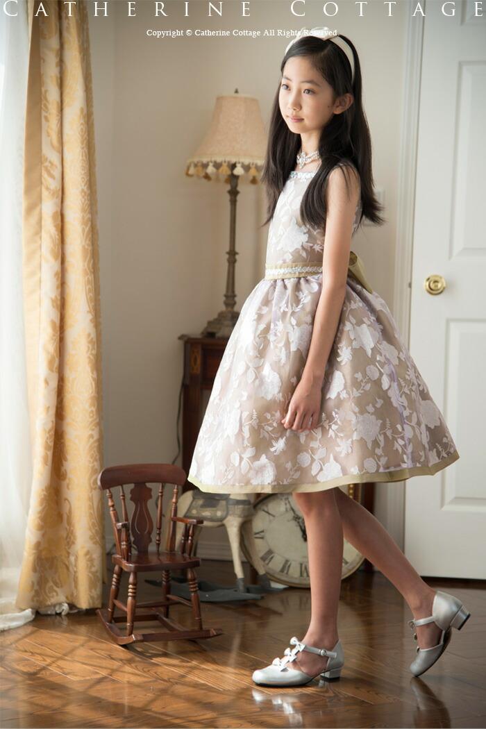 花柄スクエアネックオーガンジードレス